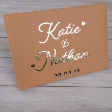Love Heart Personalised Foil Wedding Guest Book