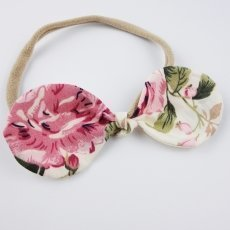 Eloise Pink Vintage Floral Baby Bow Headband