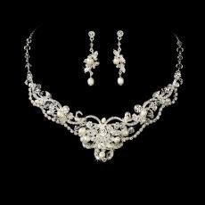 Silver Freshwater Pearl & Crystal Jewellery Set