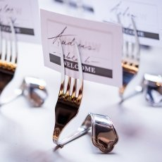 Silver Twisted Fork Vintage Inspired Stationery Holders