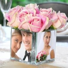 Square Glass Photo Vase