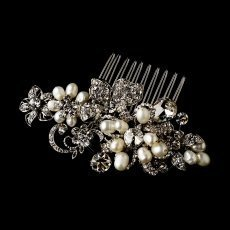 Timeless Antique Silver Pearl Bridal Comb