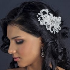 White Floral Lace Bridal Clip With Crystal Accents