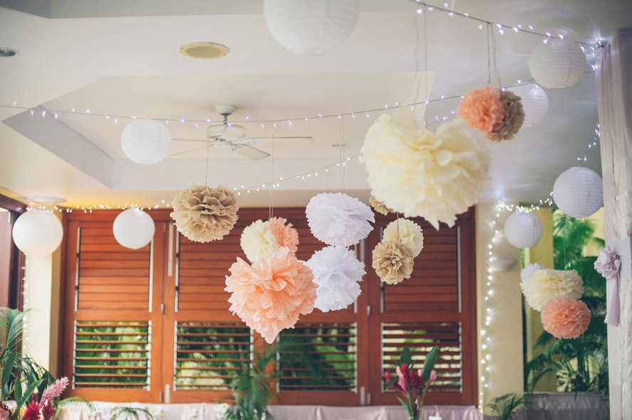 ivory_coral_tissue_pom_poms_fiji_wedding_reception_1
