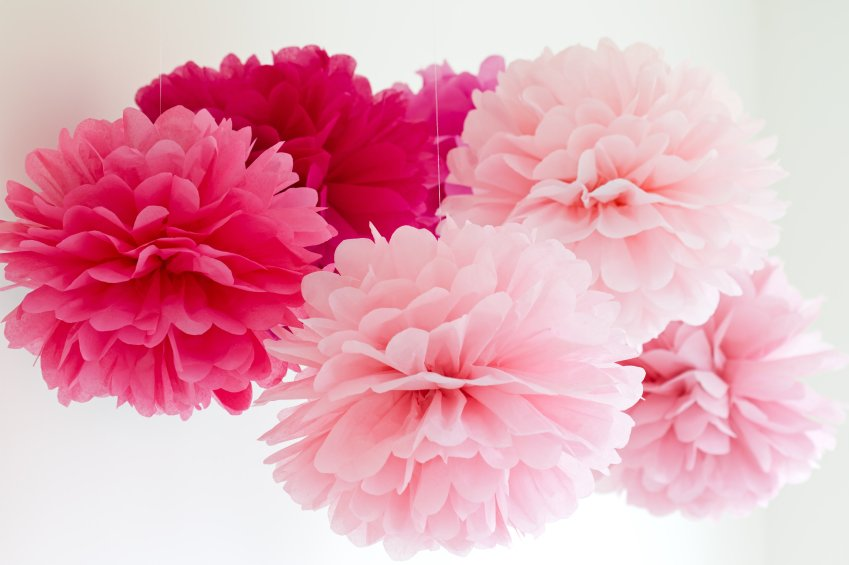 Colourful Tissue Paper Pom Poms