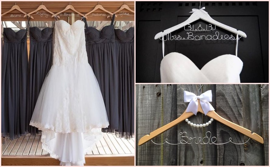 Perfect gift idea for your bridal party personalised for Wedding dress coat hanger