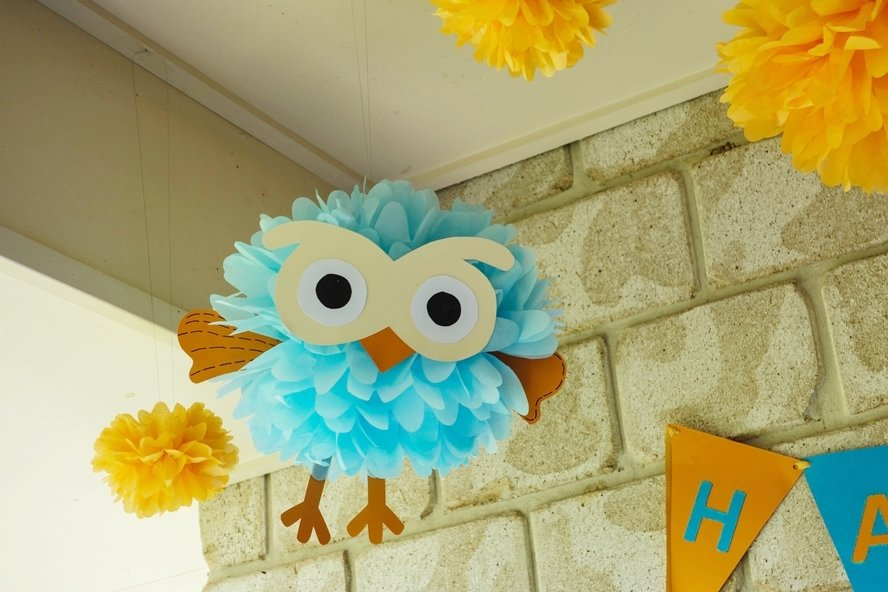 Giggle and hoot tissue pom pom decorations